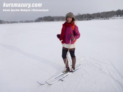 zima na mazurach, narty biegowe