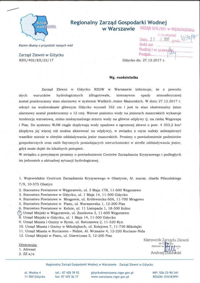 komunikat RZGW GIżycko - 27.12.2017.