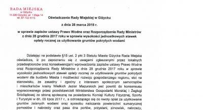 oświadczenie Rady Miejskiej w Giżycku