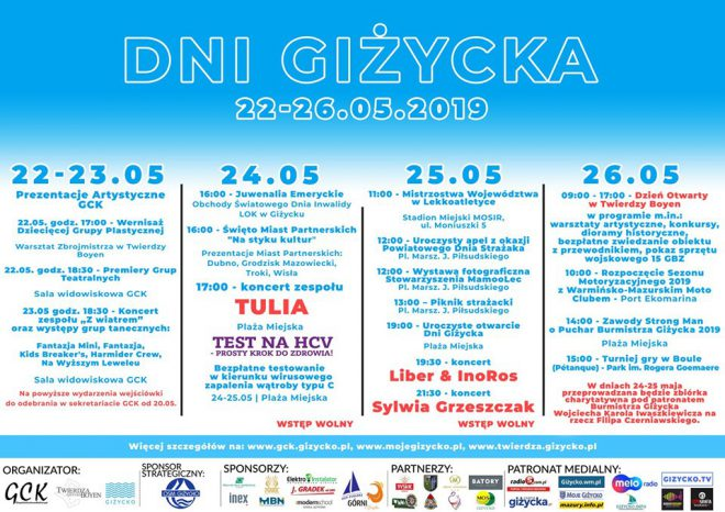 dni gizycka 2019 maj program