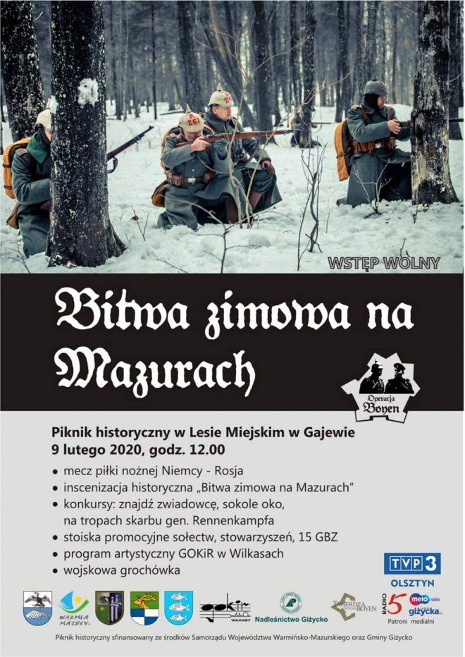 """widowisko historyczne pod nazwą """"Bitwa zimowa na Mazurach 2020"""" w Lesie Miejskim w Gajewie koło Giżycka"""