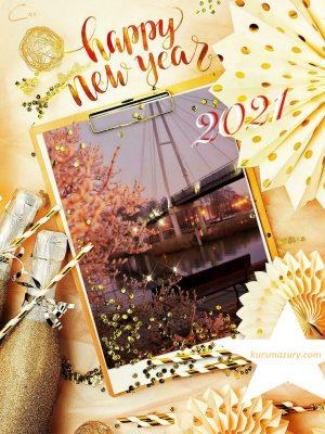 kartka noworoczna kursmazury 2021 życzenia Nowy Rok mazurskie rejsy i czartery na mazurach obozy żeglarskie kursy i szkolenia wodne